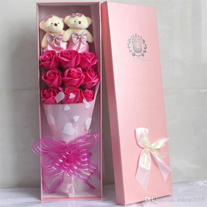 9 bear doll rose soap bouquet gift box Valentine 's Day birthday gift soap flower wholesale