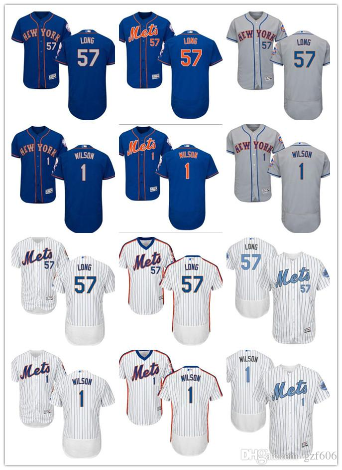 763576947b3 2019 Custom Men S Women Youth Majestic New York Mets Jersey  1 Mookie  Wilson 57 Kevin Long Blue Grey White Kids Girls Baseball Jerseys From  Gzf606
