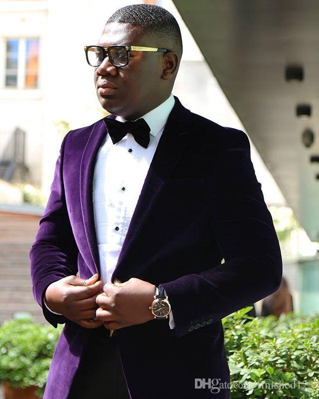 Şık Tasarım Damat Smokin Bir Düğme Koyu mor Kadife Tepe yaka Groomsmen İyi Adam Suit Erkek Düğün Takımları Ceket + Pantolon + Kravat NO: 863