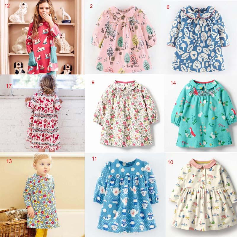 53d2fb4af INS Baby Girl Clothing Dress Round Collar Long Sleeve Full Flowers ...