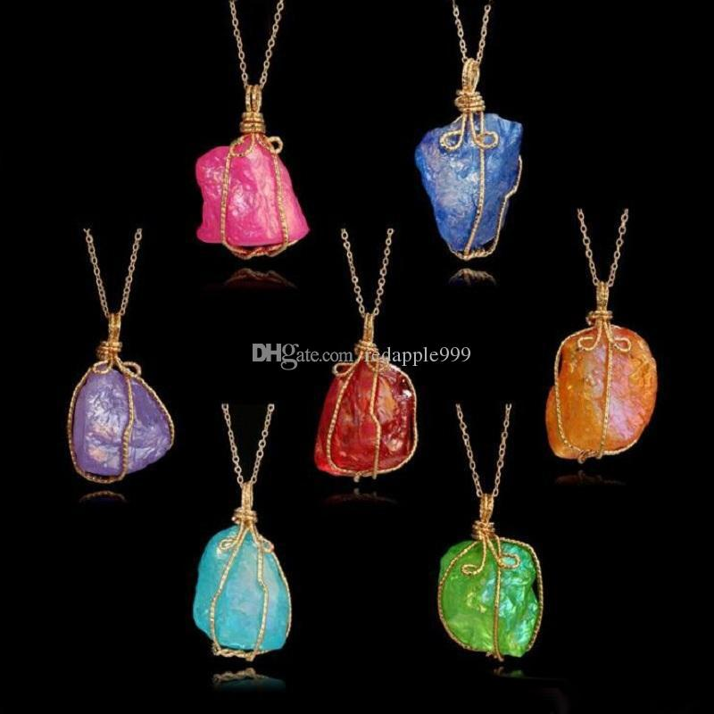 crystal Necklace Pendants 2018 new Creative winding color original big natural stone gold Sweater chain statement Necklace Jewelry