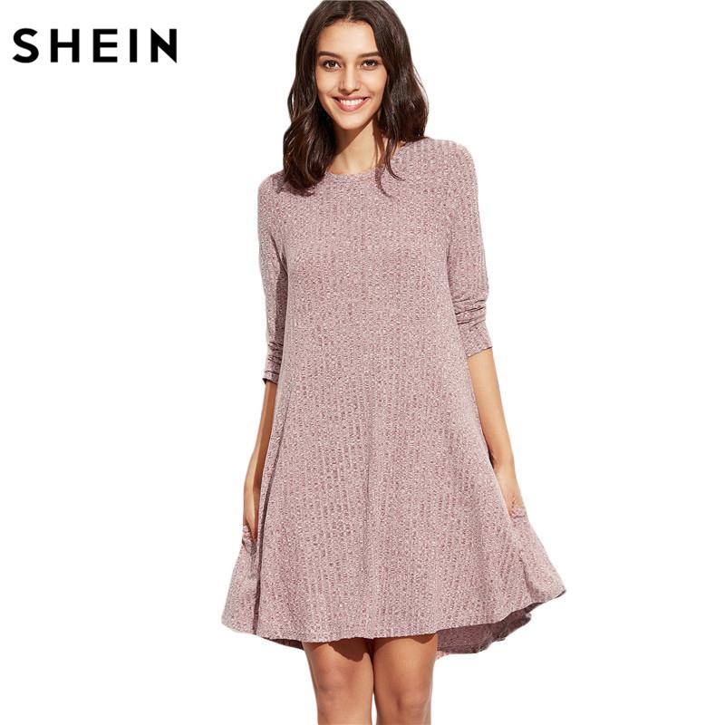 fd0d2fa769 Großhandel Großhandels SHEIN Winter Kleider Frauen 2016 Burgunder Rundhals  Dreiviertel Länge Hülse Marled Knit Ribbed Swing Casual Shift Dress Von  Longmian, ...