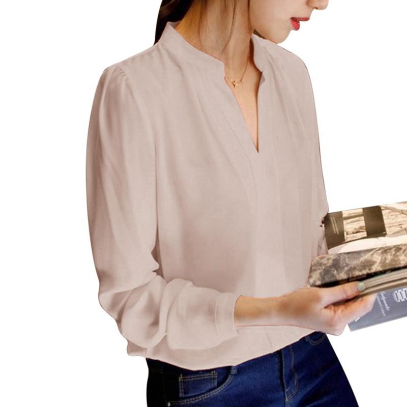 Laamei primavera otoño oficina camisas mujeres con cuello en V Tops manga larga Casual gasa blusa mujer señoras ropa de trabajo sólido es
