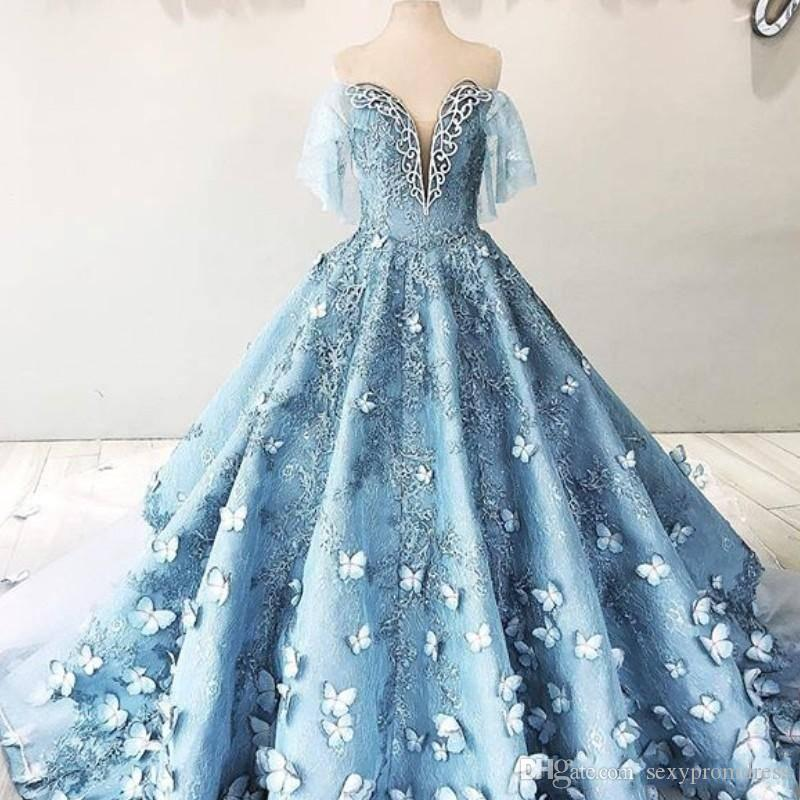 676c6984233 Gorgeous Blue Butterfly Applique Prom Dresses Off Shoulder A Line Lace Appliques  Evening Gowns Sweep Train Arabia Women Formal Wear Vestido Edgy Prom ...