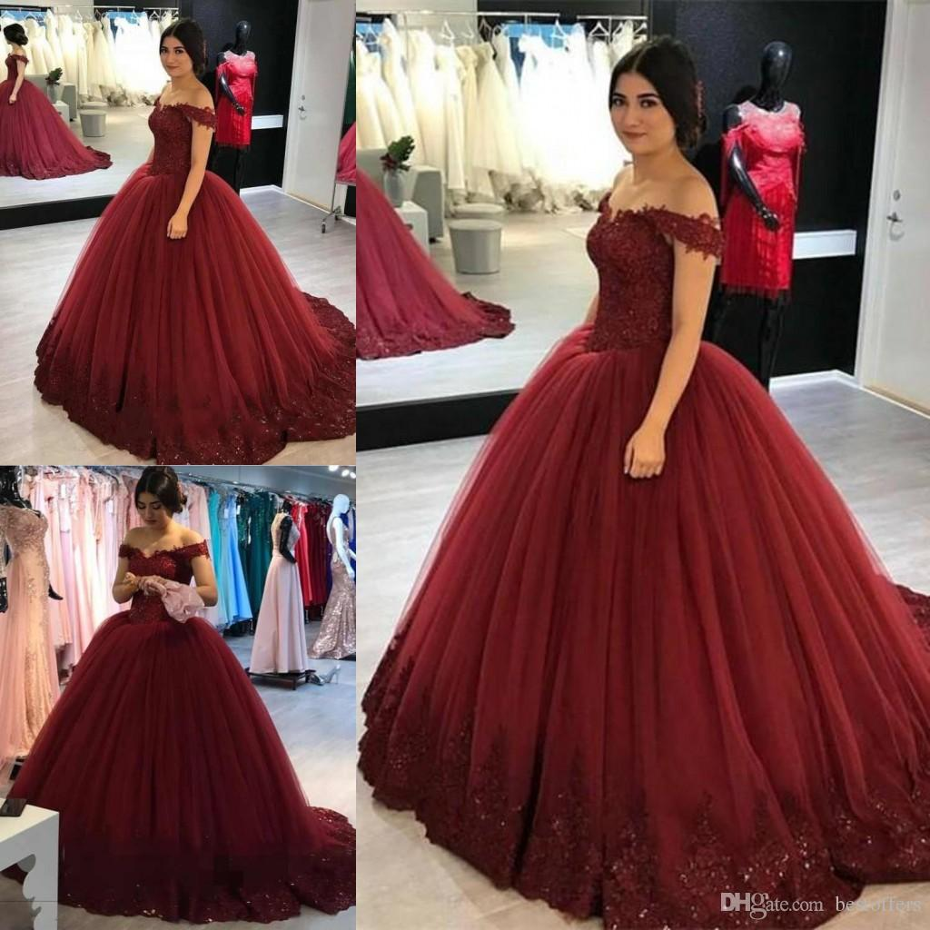 52b2e8fbc 2018 Burgundy Off The Shoulder Quinceanera Dresses Ball Gown Capped Sleeves  Princess Saudi Cheap Prom Evening Gowns Custom Made Cheap Dama Dresses Cute  ...