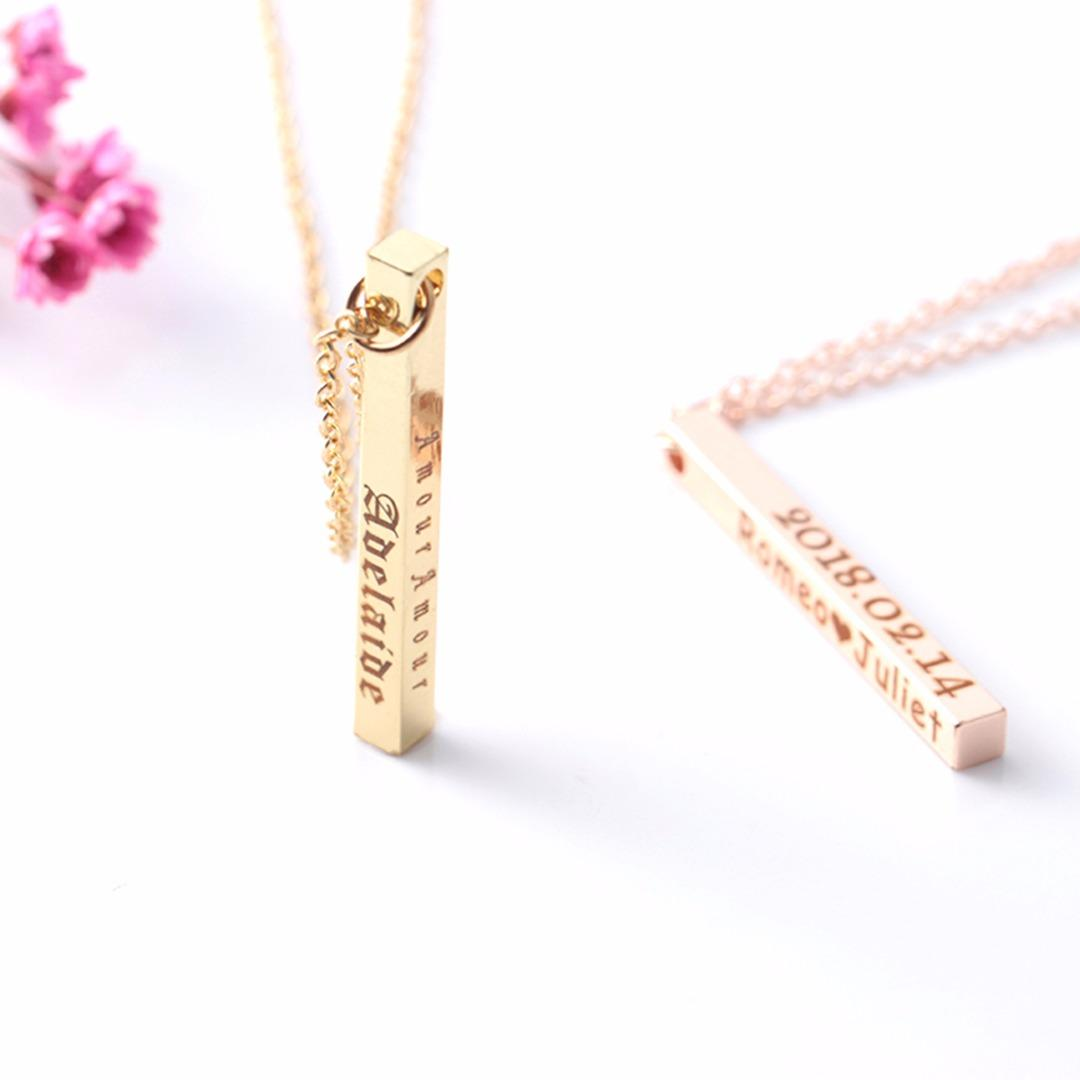90dcb3669 Wholesale Shellhard Personalized Custom Bar Necklace Four Sided Engraved  Name Date Charm Pendant Chain Necklace Birthday Gift For Women Heart Pendant  ...