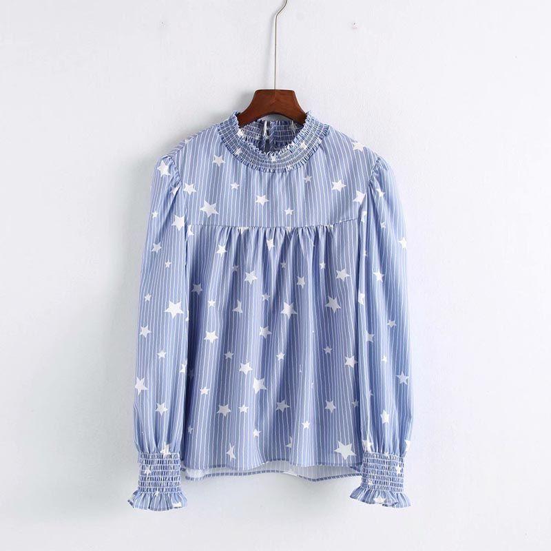 size 40 d6a04 b5335 CS872 Frauen Casual Blau Farbe Gestreiften Stern Print Plissee langarm  Shirt Damen Spiel Alle Bluse Tops