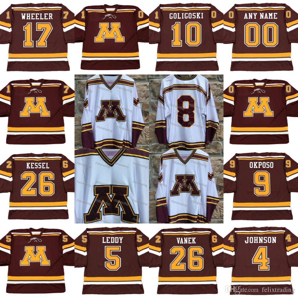 2019 Custom Minnesota Gophers 26 PHIL KESSEL ALEX GOLIGOSKI BLAKE WHEELER  ERIK JOHNSON KYLE OKPOSO NICK LEDDY THOMAS VANEK Custom Hockey Jerseys From  ... e562f83fa