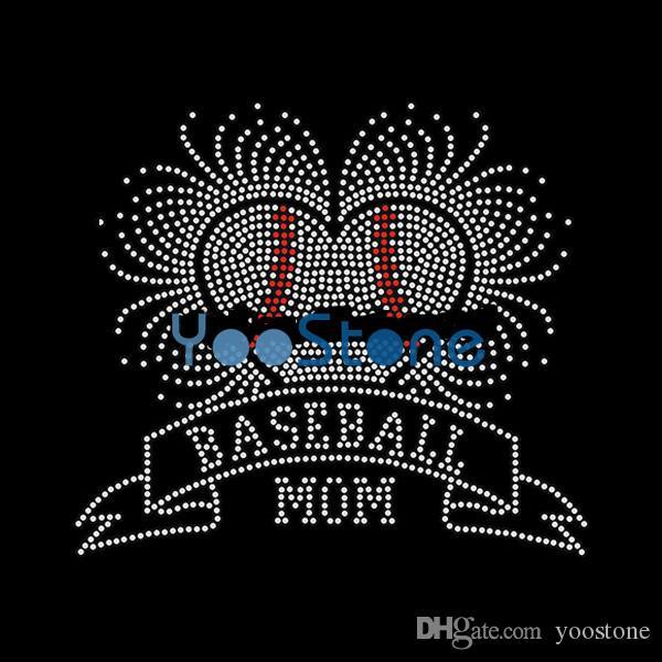 Baseball Mom Iron On Rhinestone Transfer Hot fix Applique For Boys 20pcs