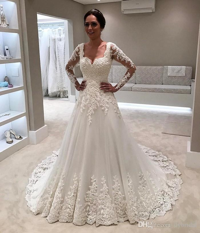 2018 Sexy Plus Size Vintage Lace Ball Gown Wedding Dresses