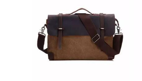 1d38d04e9b Briefcase Real Leather Canvas Bags 14 Inch Laptop Bag Retro Style ...