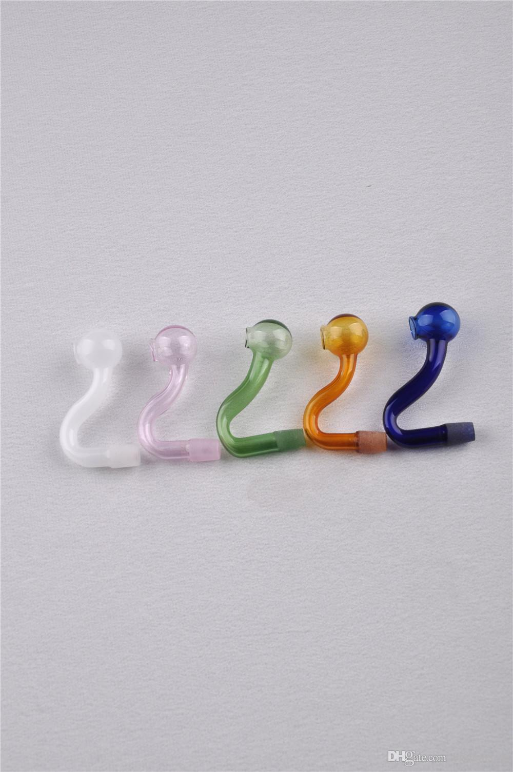 2020 heißen Verkauf-buntes gebogenes Rohr Glas Rauchen Bongs Dab Rig Farbige Schüssel Heady Günstige Smoking Pipe Glaspfeife