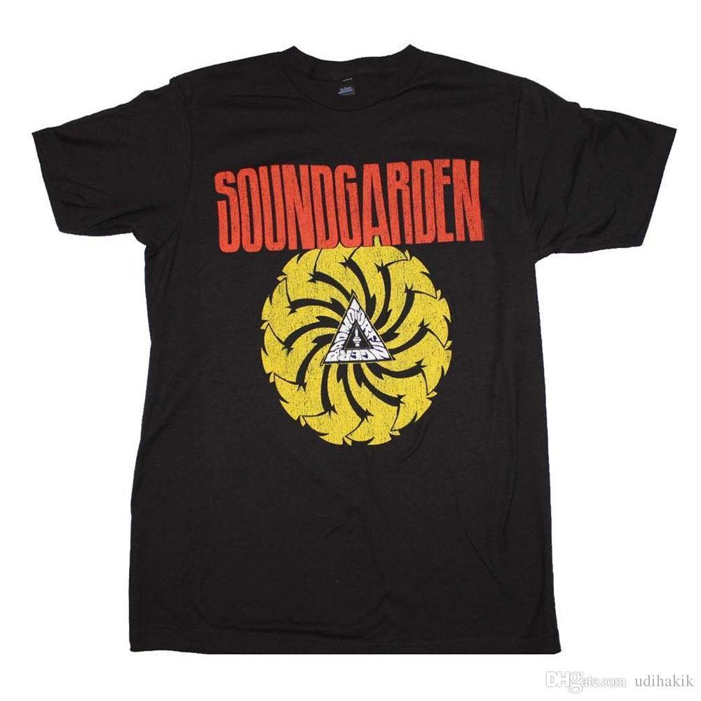 2018 Fashion casual SOUNDGARDEN Badmotorfinger Logo Distressed Black T-Shirt New Authentic S-2XL Men Streetwear T-Shirt
