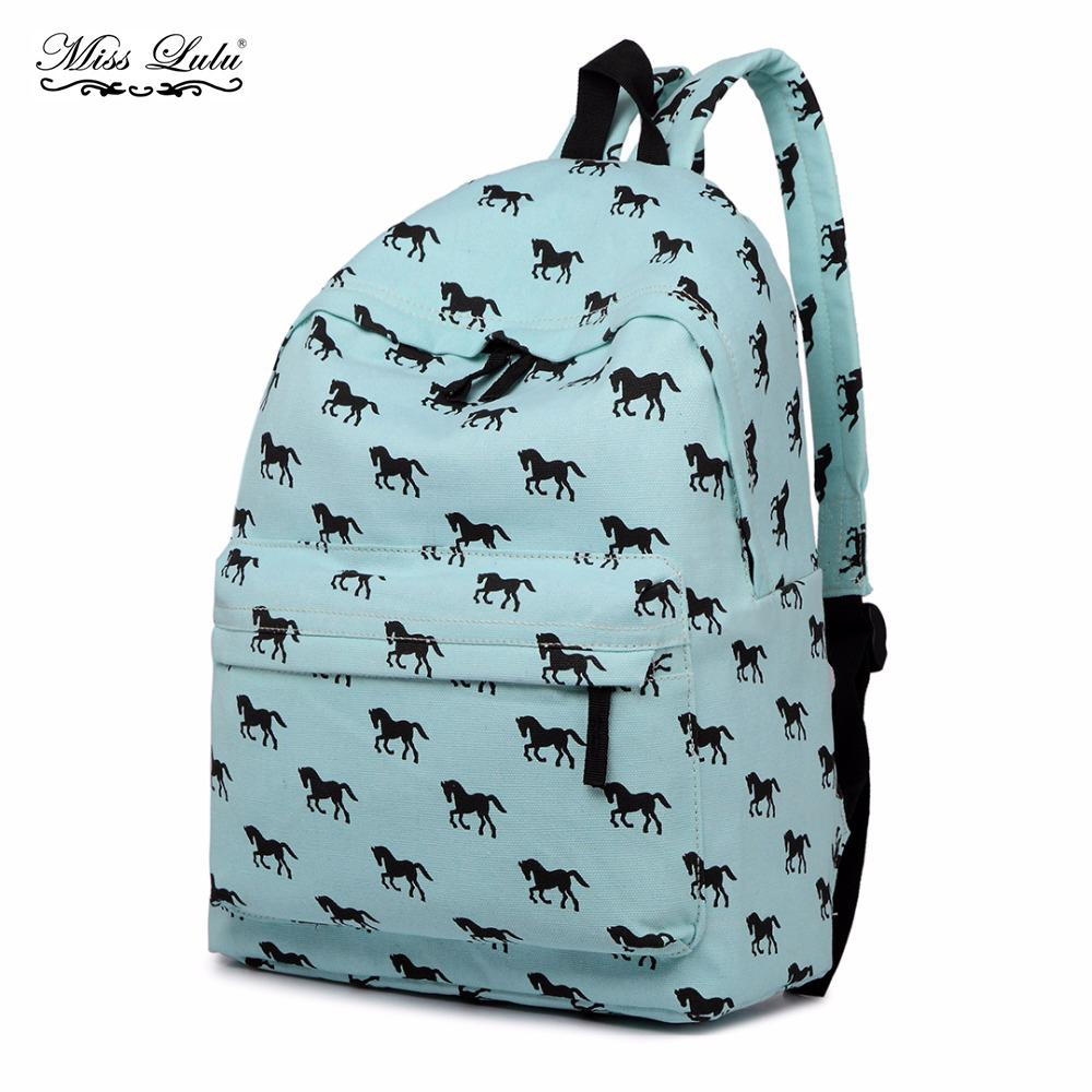 44fb2d6509 Miss Lulu Women Backpacks School Bags For Teenager Girls Boys Horse Canvas  Travel Rucksack Ladies Daypack Bolsas E1401 Gregory Backpacks Army Backpack  From ...