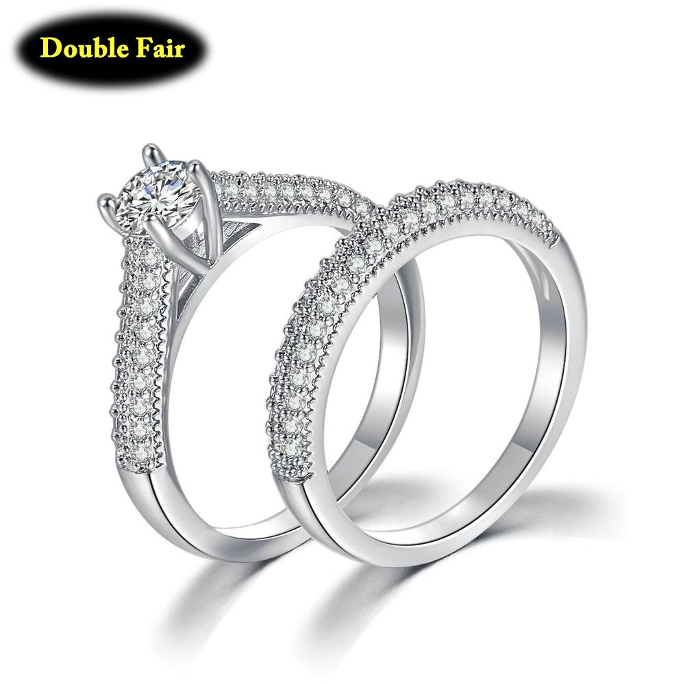 New Fashion Bridal Sets With Full Cubic Zirconia Rings For Women Engagement White Yellow Gold Color Jewelry Ring Dzr001m