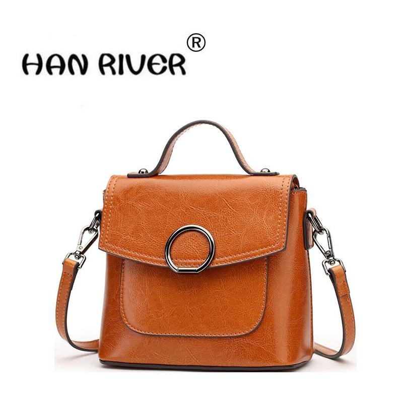 HANRIVER 2018 New Style Ladies Genuine Leather Style Simple Pure ... 24be5691f78d