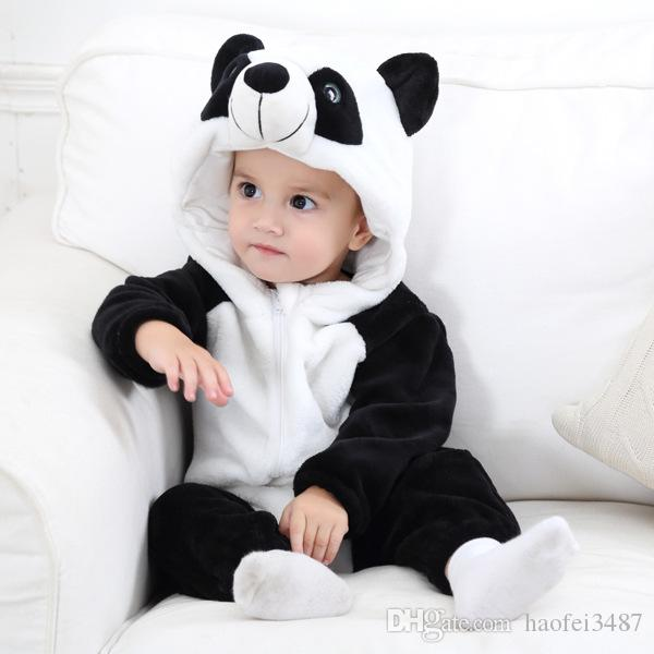 b55f629d4bc 2019 Infant Romper Baby Boys Girls Cartoon Jumpsuit New Born Bebe Clothing  Hooded Toddler Baby Clothes Cute Panda Romper Baby Flannel Costumes From ...