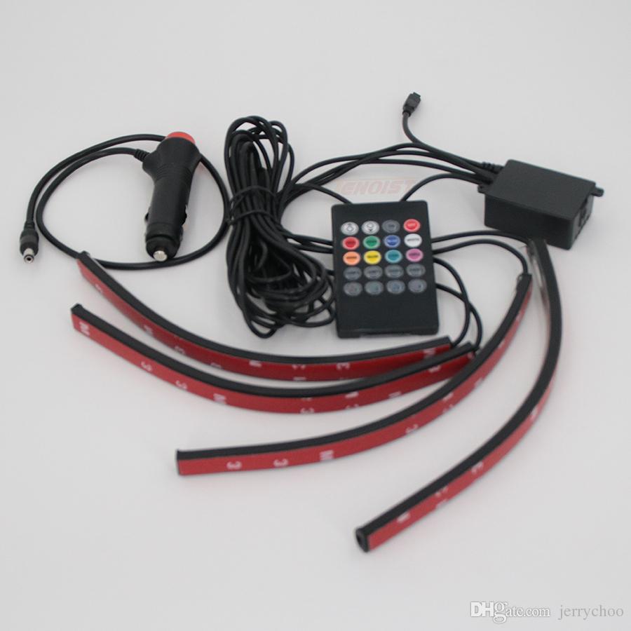 뜨거운 판매 12V 5050 칩 8 색 인테리어 조명 빛 SUV 4에 대 한 장식 분위기 빛을 하나