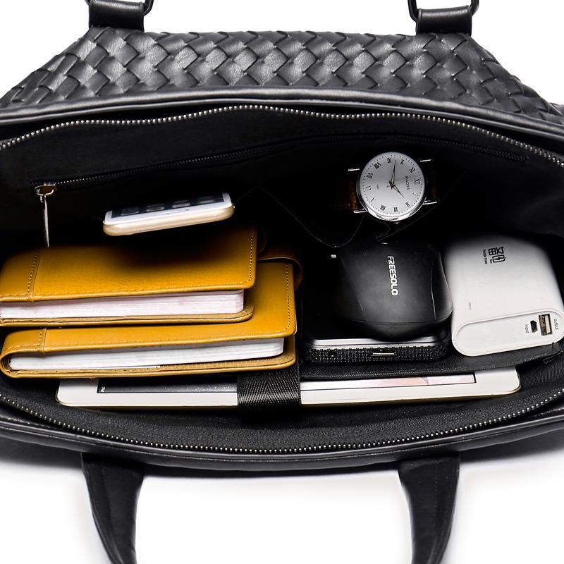 Homens Casual Tecer Maleta Negócios PU Couro Ombro Sacos Do Mensageiro Computador Portátil Bolsa Sacos de Viagem dos homens bolsas