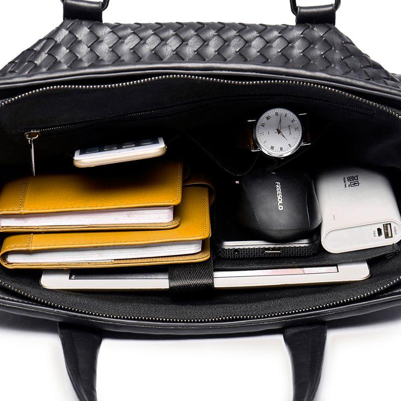 Hommes Casual Weave Briefcase Business Sac à bandoulière en cuir PU Messenger Sacs Ordinateur Ordinateur Portable Sac à main Sacs de voyage pour hommes