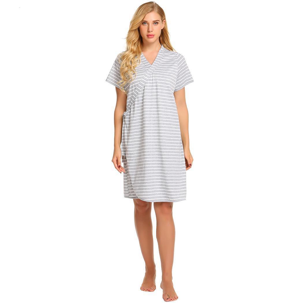 86e385c5c8507 2019 Nightdress Women Pregnant Nursing Nightgown Robe Loose Casual Short  Sleeve Striped Sleepwear Sleepshirt Nightwear Dress From Westlakestore, ...