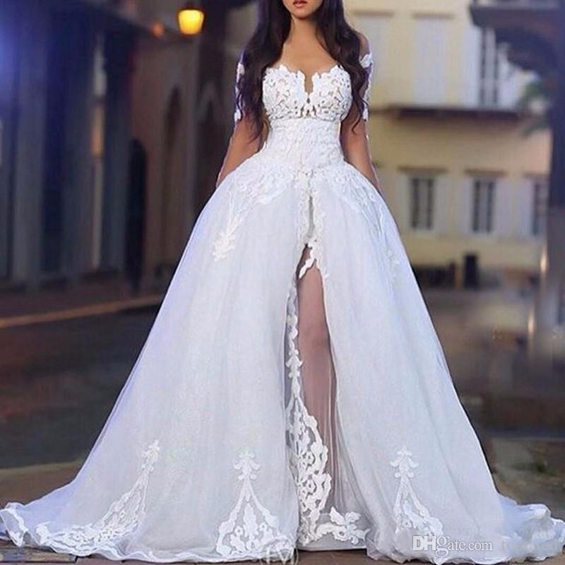 Wedding Gowns Online Shopping: Discount 2019 Arabic White Elegant Off The Shoulder