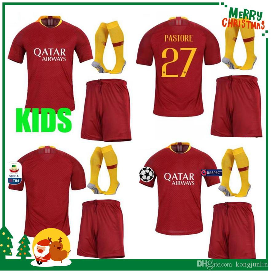 2019 18 19 ROME Kids Kit Boy Child Home Away Soccer TOTTI ROMA DZEKO Sports  DE ROSSI Jersey 2018 2019 EL SHAARAWY Football Shirt From Kongjunlin f827864c6