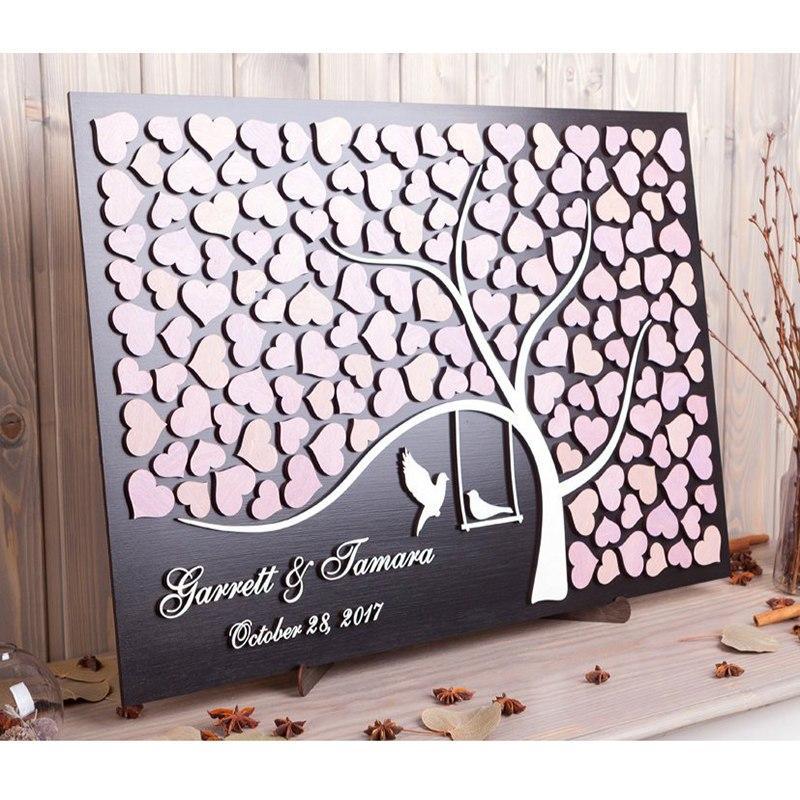 Wedding Guest Sign In Ideas: 2020 RusticCustom 3D Wedding Guest Book Alternative Wood