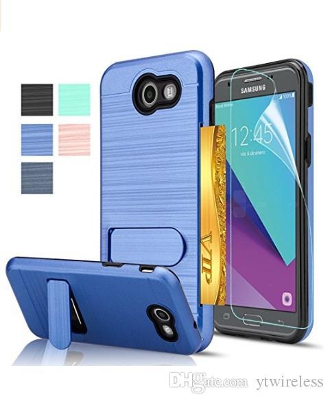 size 40 c0838 414ea For Samsung S8 S9 Plus J7 Perx Sky Pro J727 J7 Prime J3 Prime ZTE Prestige  2 9136 Avid 4 Brushed Metal Hybrid Kickstand Case Card Slot