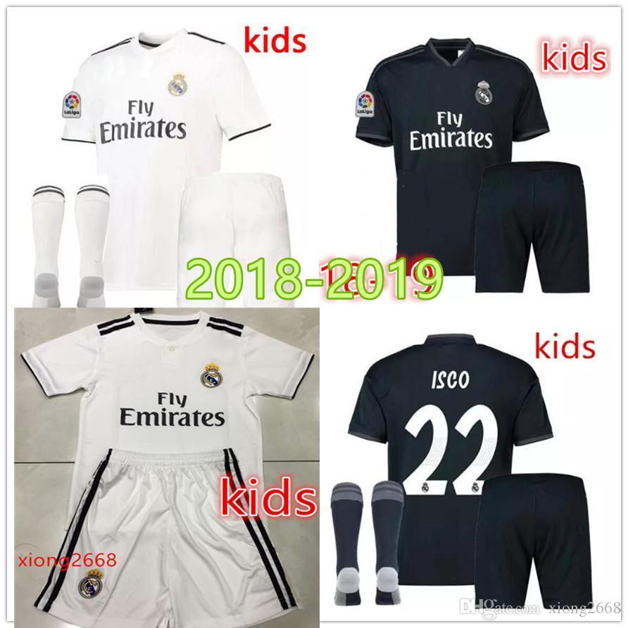new arrival 0bceb 2d6f3 Real Madrid soccer jersey Kids kits 2018 2019 New RONALDO Asensio SERGIO  RAMOS MODRIC MARCELO BALE ISCO 18 19 child Football shirts socks