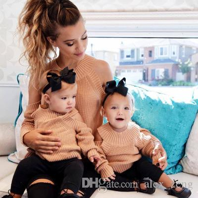 b64da6d53 2018 New Mom Daughter Fashion Sweater Clothing Off Shoulder Long ...