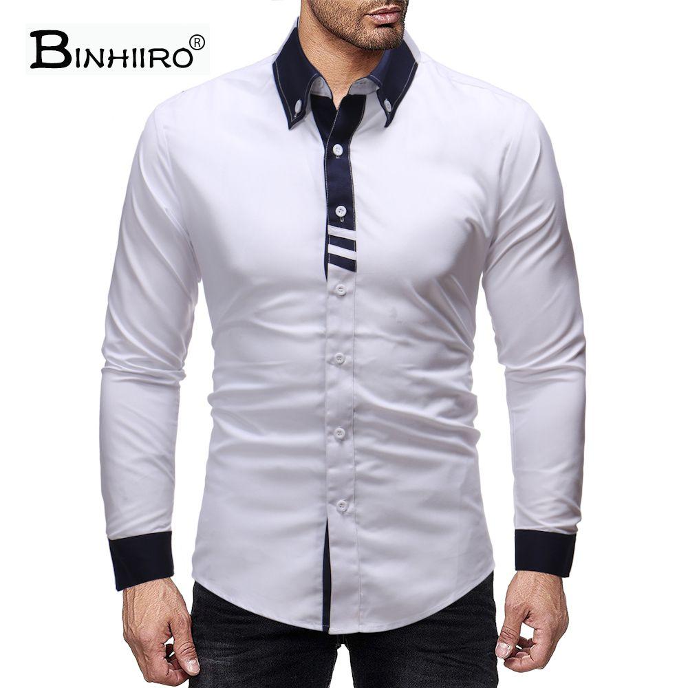 Mens Shirt Contrast Color Stitching Comfortable Fashion Shirt