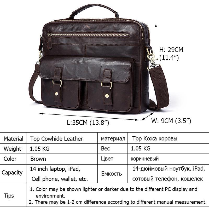 2018 New Retro Men's Briefcase Genuine Leather Men Bag Famous Brand Shoulder Messenger Bags Casual Handbag Laptop Bag for Male