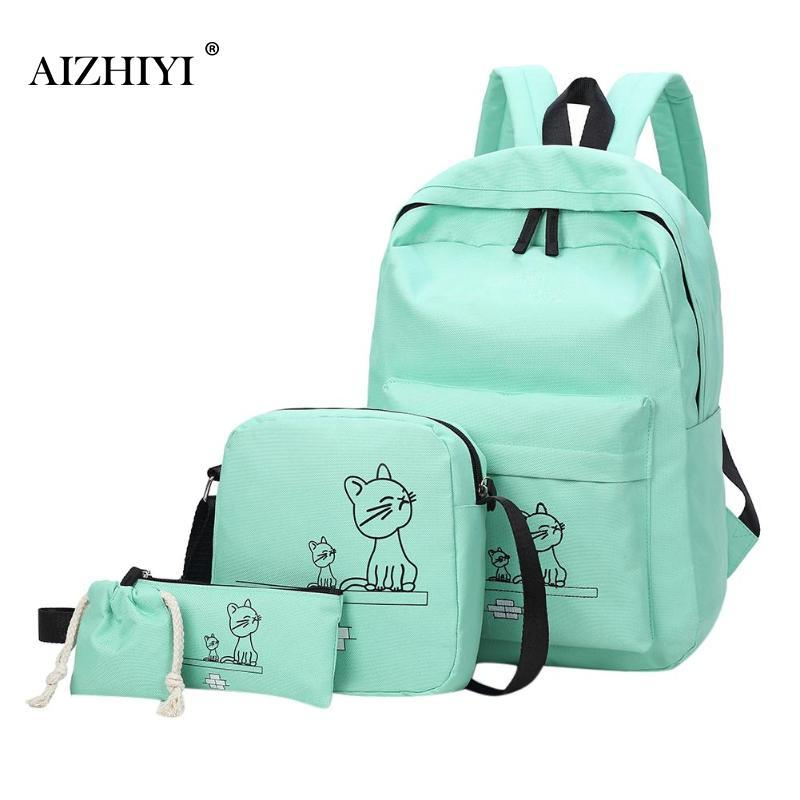 Women Backpack Cute Cartoon Cats Printed Backpacks Student School Shoulder  Bags Clutch Travel Rucksack Composite Bag Black Backpack Camera Backpack  From ...