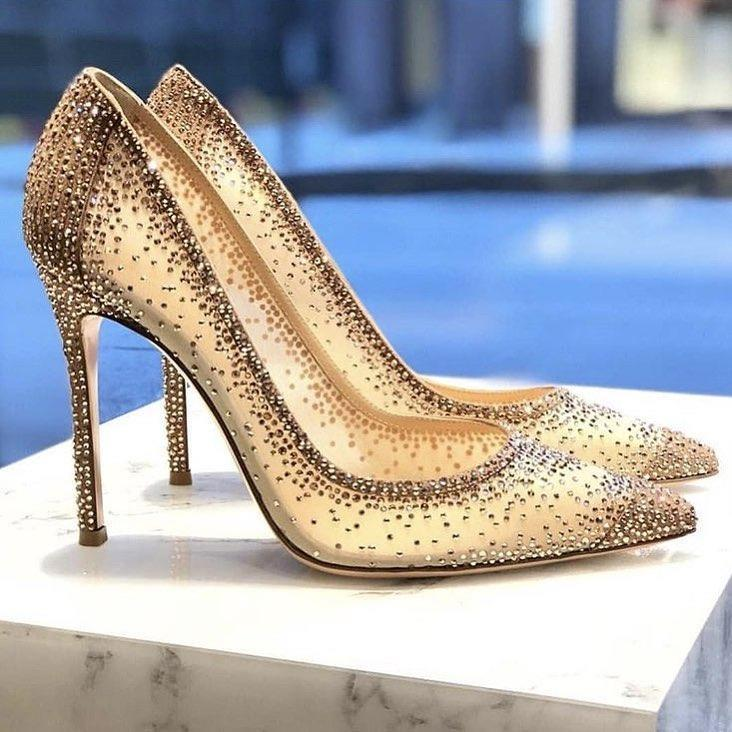 f74377b7c20 New Summer Stiletto High Heels Pumps Rhinestone Bling Wedding Shoes 2018  Chic Nude Sequin Mesh Pointed Toe Luxury Women Slip On Shoes Mens Loafers  From ...