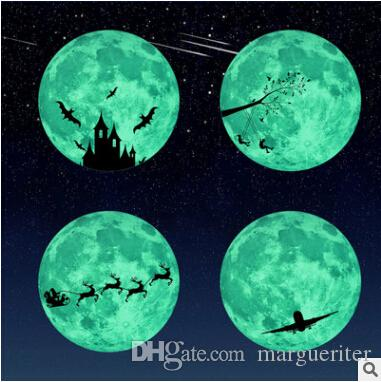 Wall Stickers Luminous Fluorescent Moon 3D Sticker Creative Removable Decal Glow In The Dark Kid's Room Children Bedroom Decoration