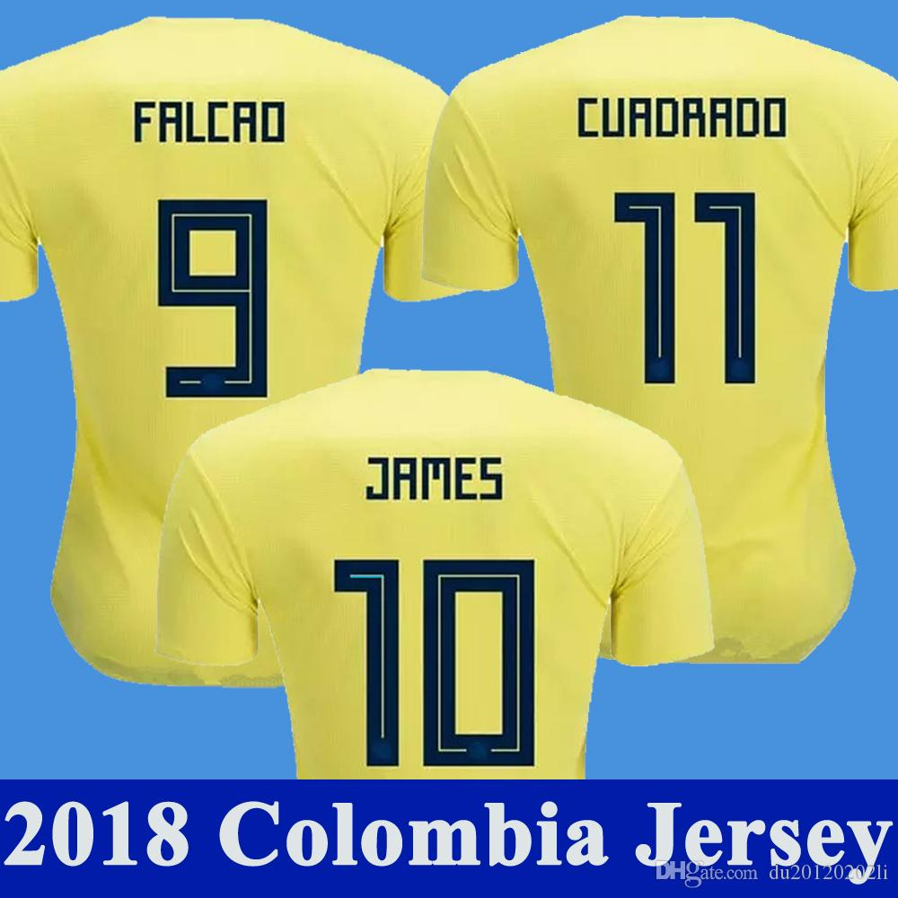 aec75515fdd 2019 2018 World Cup Colombia Soccer Jersey JAMES FALCAO CUADRAD AGUILAR  GUARIN SANCHEZ Camiseta Home Yellow Colombia National Team Football Shirt  From ...