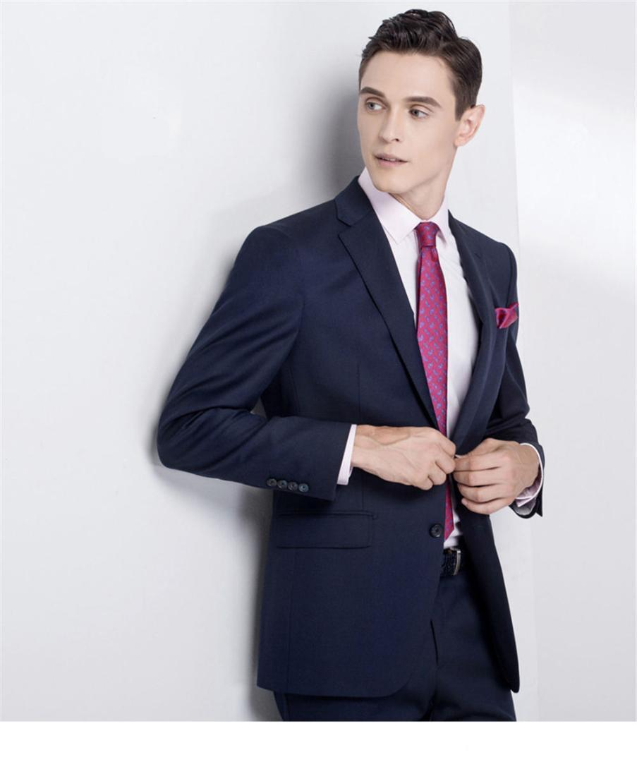 Compre Azul Marino Azul Marino Negro Hombres Trajes Por Encargo Slim Fit  Trajes De Boda Para Hombres Traje Príncipe De Gales Compruebe Traje  Cristalino ... e18b23080da