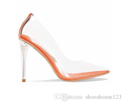 4225fc4b62d Transparent PVC High Heels Women Shoes Nude Orange Clear Stiletto Heels  Women Sandals Sexy Pointed Toe Women Pumps Red Wedges Summer Shoes From ...