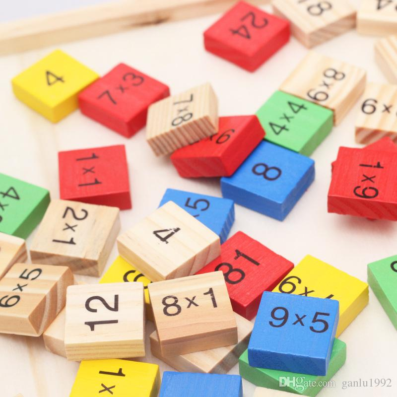 99 Multiplication Arithmetic Table Intelligence Toy Children Puzzle Building Blocks Early Childhood Study Calculation Wooden Toys 10 8bm W