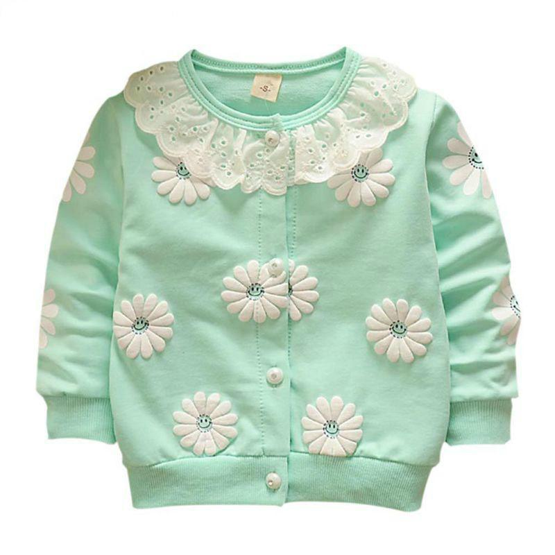 af905674d 2018 Lovely Baby Girls Outwear Flowers Candy Colors Coats Button ...
