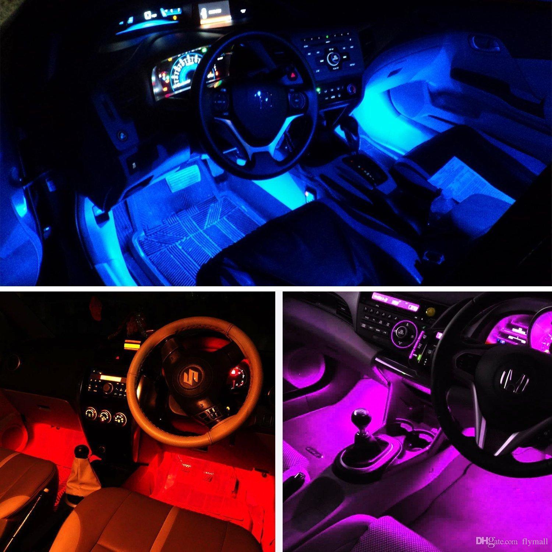 Kablosuz Uzaktan Araba LED Şerit Işık 4 adet 48 LED 12 V RGB Müzik Araba İç Işık Altında Ses Aktif Fonksiyonu ile Dash Aydınlatma