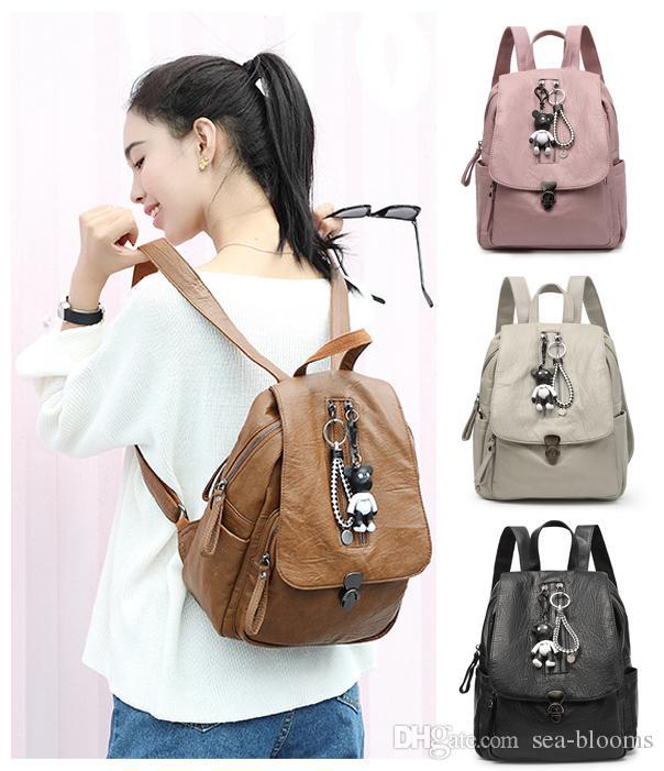 Female Soft PU Leather Women Bags Backpacks Solid Bags Female Black Backpacks Cute Bear Backpack Free DHL G152L