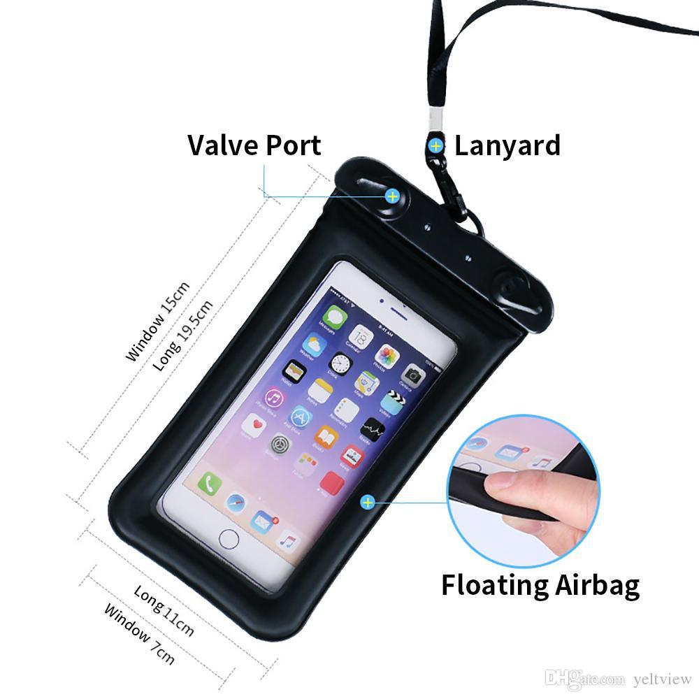 Bolso impermeable de la bolsa impermeable de la bolsa del teléfono universal que flota la pantalla táctil del bolso del saco hinchable para el iphone X huawei caja del teléfono de 6.1 pulgadas para el salto de la natación