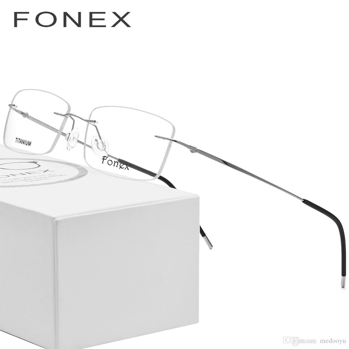 0c1e941eea 2019 Rimless Titanium Glasses Frame Men Ultralight Square Prescription  Eyeglasses Women Light Frameless Myopia Optical Frames Eyewear 3126 From  Medooyu