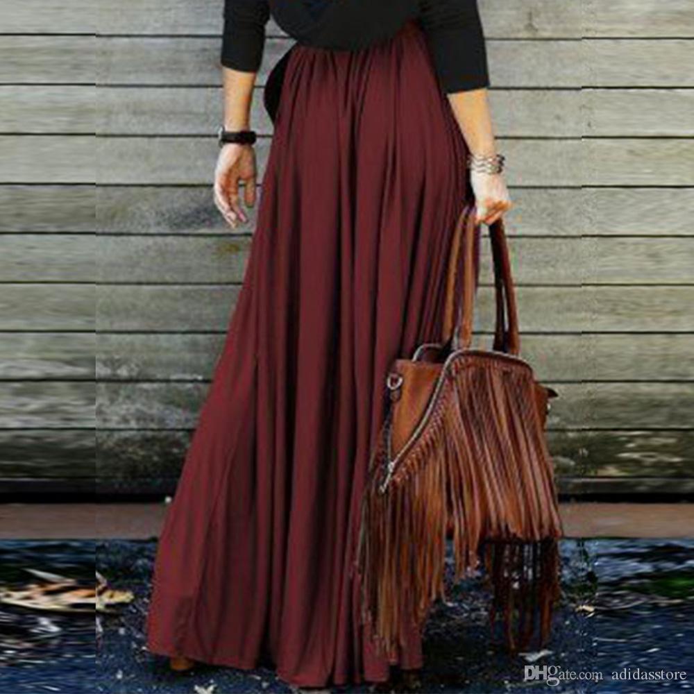Compre Vintage Faldas Largas Rojo Oscuro Naranja Verano Mujeres Casual  Cintura Alta Falda Larga Maxi Jupe Femme Boho Plisado Boho Falda A  36.19  Del ... 116fd9894184