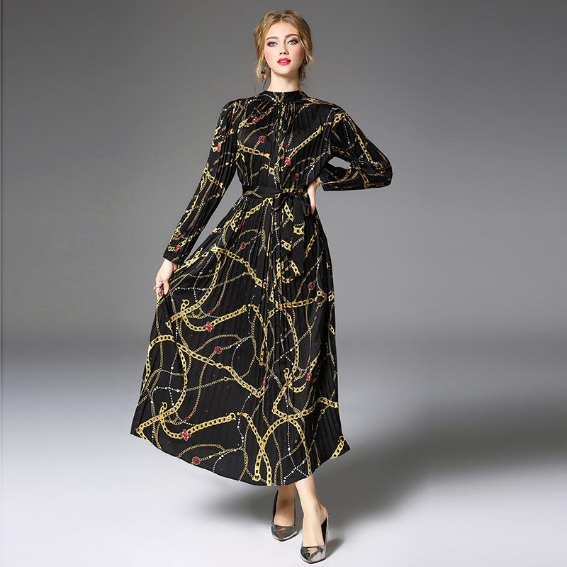 dd45af705409 2019 Female Runway Dresses Loose Tunic Pleated Maxi Dress Stand Neck Slim  Vintage Print Black Plus
