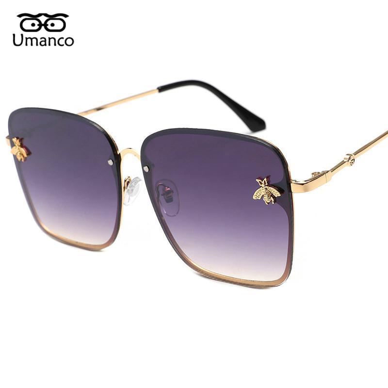 b4892d521e Compre Umanco Unique Bee Charm Gafas De Sol Cuadradas Para Las Mujeres De  Gran Tamaño Gradient Eyewear Lady Vintage Gold Metal Playa Playa Goggle  UV400 A ...