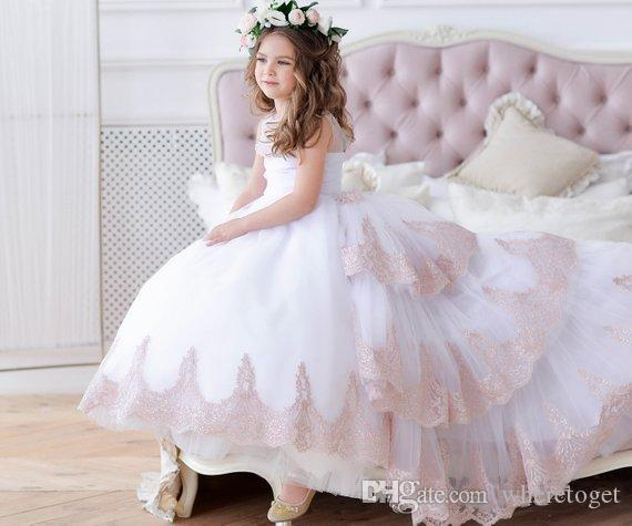 2019 New Cute White Flower Girl Dress With Train Blush Junior
