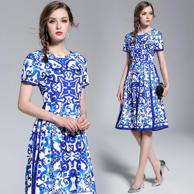 2d8f409b993 2019 Summer Dresses Print Vintage Women Evening Dress Crew Neck Slim Fit  Fashion Casual A Line Dresses From Sinofashion